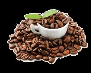 Kávé - Kávészemek csészében